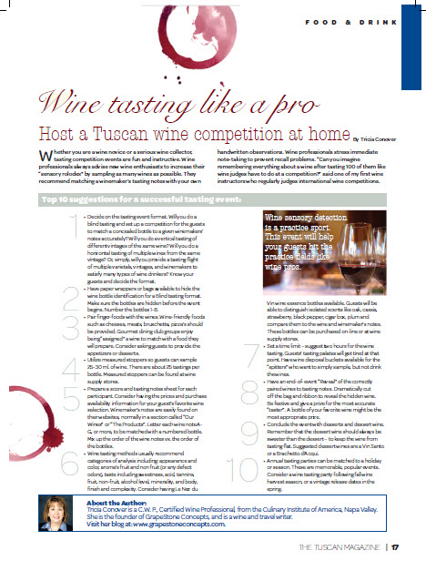 Wine tasting like a pro Tuscan magazine july2011
